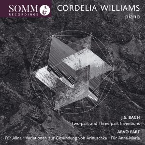 Cordelia Williams recording - Piano Music of J.S. Bach and Arvo Pärt Cover Art