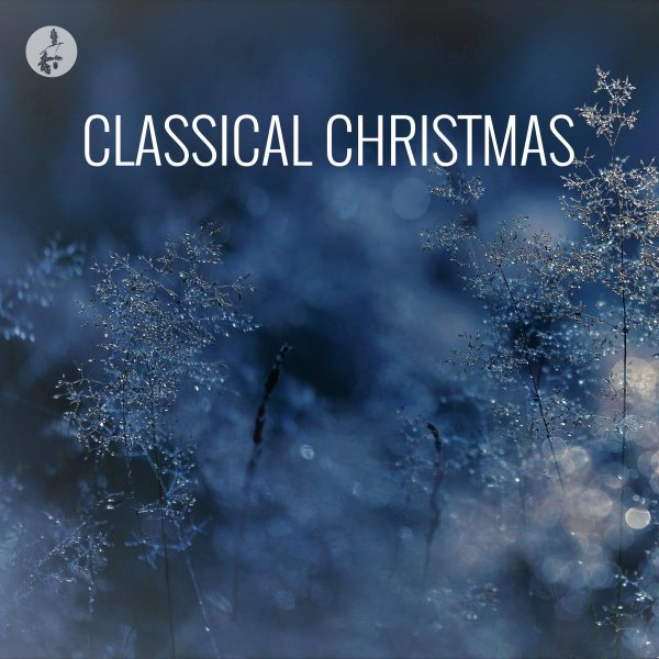 SOMM Christmas Spotify Playlist Image cover - soft snow background with title Classical Christmas
